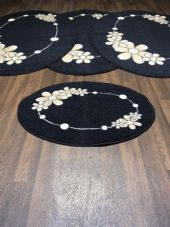 ROMANY GYPSY WASHABLES  SETS OF 4 MATS BLACK BEIGES NON SLIP GYPSY OVAL RUGS
